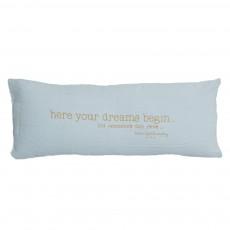 """Coussin garni en lin lavé """"Here begin your dream"""" - 30x70 cm Bleu pâle"""
