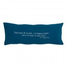 """Coussin garni en lin lavé """"Sauf erreur de ma part, j'ai toujours raison"""" - 30x70 cm Bleu"""