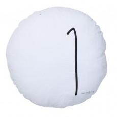 Coussin garni en lin lavé sérigraphié - 65 cm Blanc
