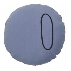 Coussin garni en lin lavé sérigraphié - 65 cm Bleu gris