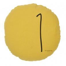 Coussin garni en lin lavé sérigraphié - 65 cm Jaune moutarde