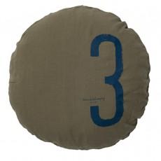 Coussin garni en lin lavé sérigraphié - 65 cm Vert kaki