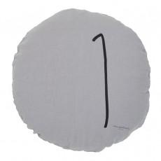 Coussin garni en lin lavé sérigraphié - 65 cm Gris