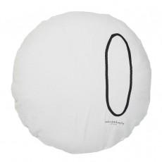 Coussin garni en lin lavé sérigraphié - 65 cm Gris clair