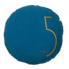 Coussin garni en lin lavé sérigraphié - 65 cm Bleu