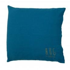 Coussin garni en lin lavé sérigraphié 80x80 cm Bleu