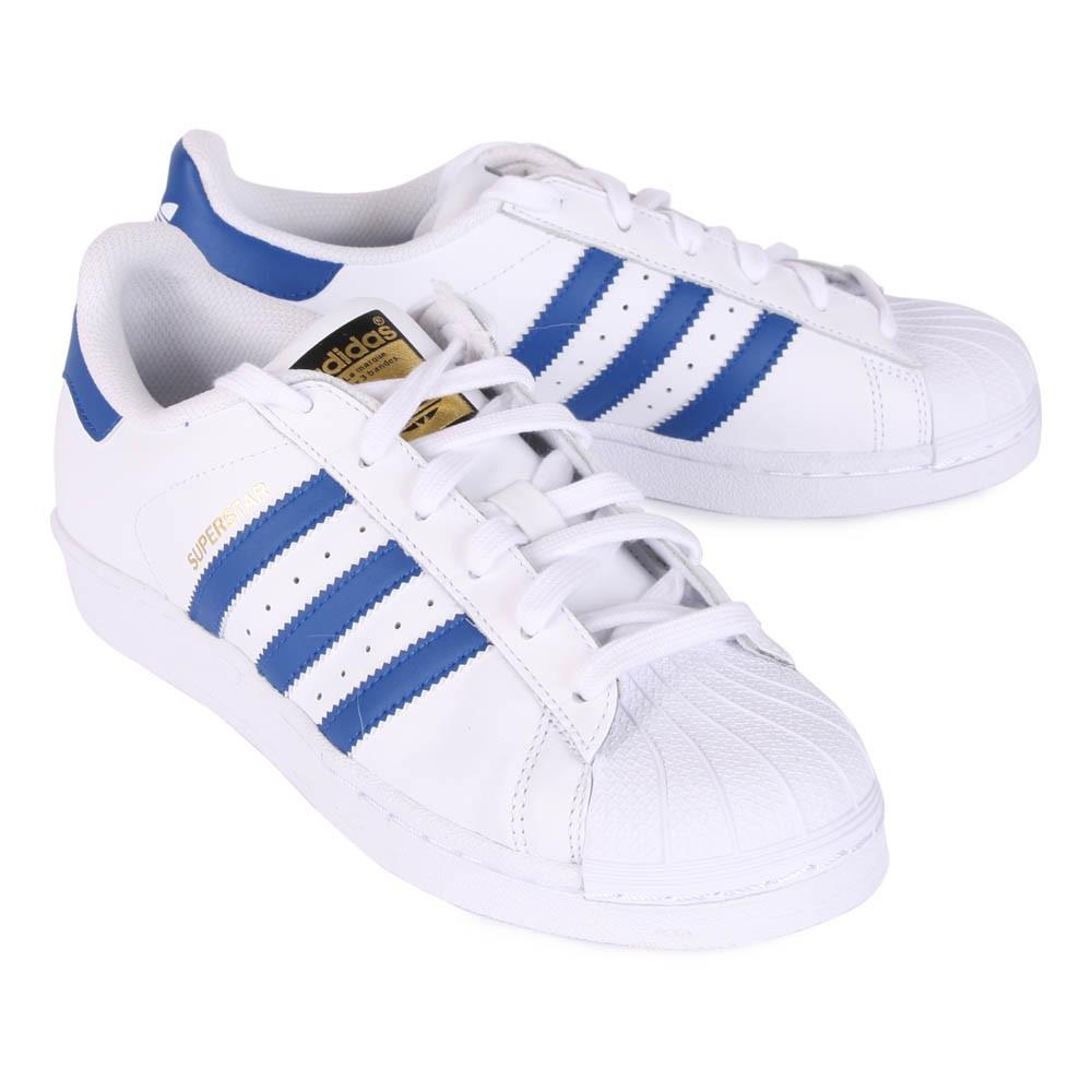 baskets lacets superstar blanc bleu marine adidas. Black Bedroom Furniture Sets. Home Design Ideas
