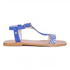 Sandales Cuir Eolios Bleu roi
