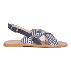 Sandales Croisées Cuir Laura Bleu marine