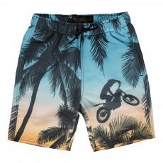 Short De Bain Moto Palmiers Goodboy Bleu