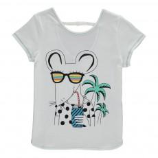 T-Shirt Souris Echancré Dos Blanc