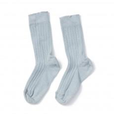 Chaussettes Côtelées Rib Bleu ciel