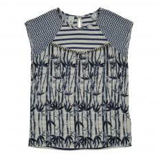 T-shirt Rayé Bambous Bleu