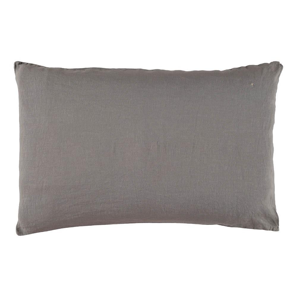 taie d 39 oreiller en lin lav gris bed and philosophy. Black Bedroom Furniture Sets. Home Design Ideas