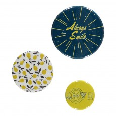 Set 3 Badges Jaune
