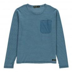 T-Shirt Rayé Poche Shine Bleu
