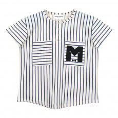 T-Shirt Coton Bio Rayé Baseball Bleu marine