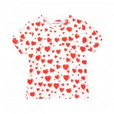 T-Shirt Coton Bio à Cœurs Rouges Blanc