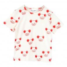 T-Shirt Coton Bio Souris Rouges Blanc