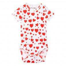 Body Coton Bio Cœurs Rouges All Over Blanc