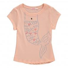 T-Shirt Sirène Perles Rose pêche