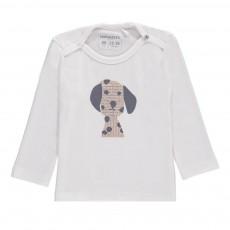 T-Shirt Coton Bio Tête de Dalmatien ML Blanc