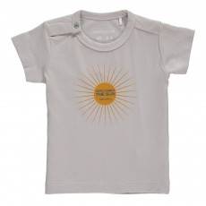T-Shirt Coton Bio Here Comes The Sun Gris clair