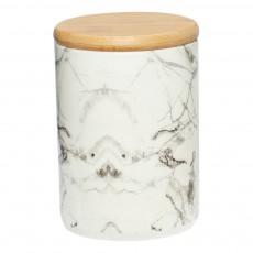 Pot en céramique marbre et bois Blanc