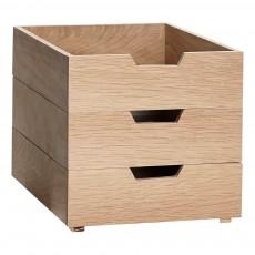 Boîtes de rangement empilables en chêne - Set de 3 Blanc