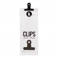 Sachet de 20 pinces clip 50 mm Noir