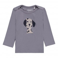 T-Shirt Coton Bio Tête de Dalmatien ML Gris