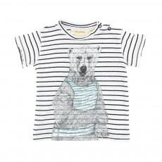 T-Shirt Rayé Ours Ashton Blanc