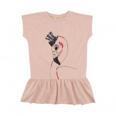 Robe Flamant Rose Brodé Pippi Rose chiné