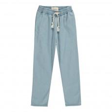Pantalon Fluide Chambray Valentin Bleu
