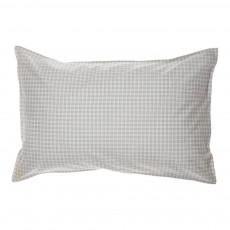 Taie d'oreiller à carreaux 75x50 cm Ivoire