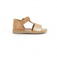 Sandales Cuir Paillettes Poppy Tao Velcro Camel