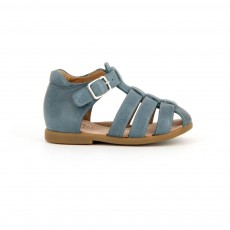 Sandales Cuir Fancy Papy Bleu