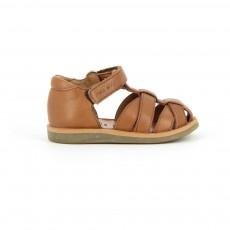 Sandales Cuir Poppy Pappy Velcro Camel