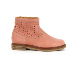 Bottines Cuir Perforé Hobo Cover Perfo Vieux Rose