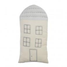 Coussin maison à carreaux 29x57,5 cm Ecru