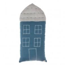Coussin maison à carreaux 29x57,5 cm Bleu indigo