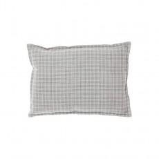 Coussin garni à carreaux et verso gris 22x30 cm Ivoire