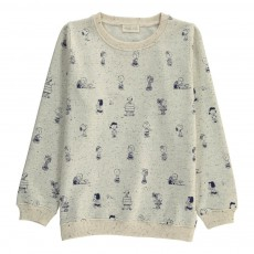 Sweat Personnages Snoopy Ecru chiné