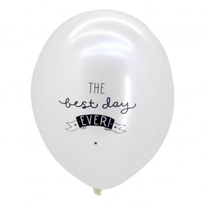 Image du produit Ballons métalliques imprimés Best day ever - Set de 6 Blanc