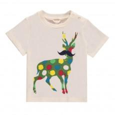 T-Shirt Cerf Pois Chuckle Blanc cassé