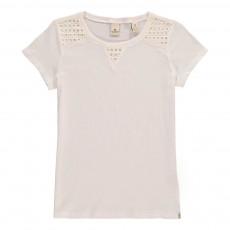 T-shirt Détails Broderies Blanc