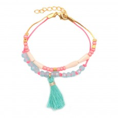Bracelet Pompon Massai Bleu turquoise