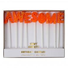 Bougies Awesome - Set de 7 Orange fluo