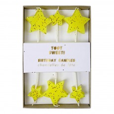 Bougies étoiles - Set de 12 Jaune fluo