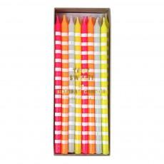 Bougies rayées pastel - Set de 24 Multicolore